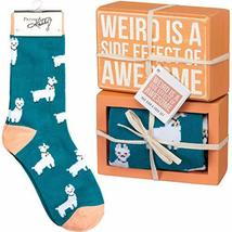 Primitives by Kathy Decorative Box Sign & Pair of Socks Gift Set -Weird is A Sid - $11.99