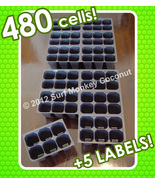 480 CELLS NEW Seedling Starter Trays +5 PLANT LABELS! Easy-Out Soil Plug... - $8.50