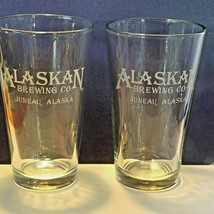 Lot of 2 Alaskan Brewing Company Frosted Logo Beer Pounder Glasses 5 7/8... - $13.96