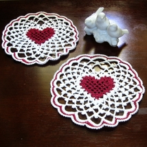Red Heart in White Irish Picot Lace - Fiber Art... - $10.00