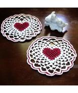 Red Heart in White Irish Picot Lace - Fiber Art... - $10.00