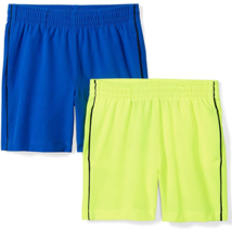Spotted Zebra Boys Small S Athletic Shorts Active Stretch Neon Yellow Bl... - $17.21