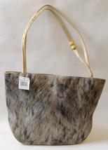 Fabric Purse Gray Tan Beads Faux Leather Shoulder Bag Handbag Tote Lined  - $25.00