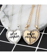 Unisex 2 Pcs Bff Necklace Heart Pendant Best Friends Letter Necklace Wom... - $9.66