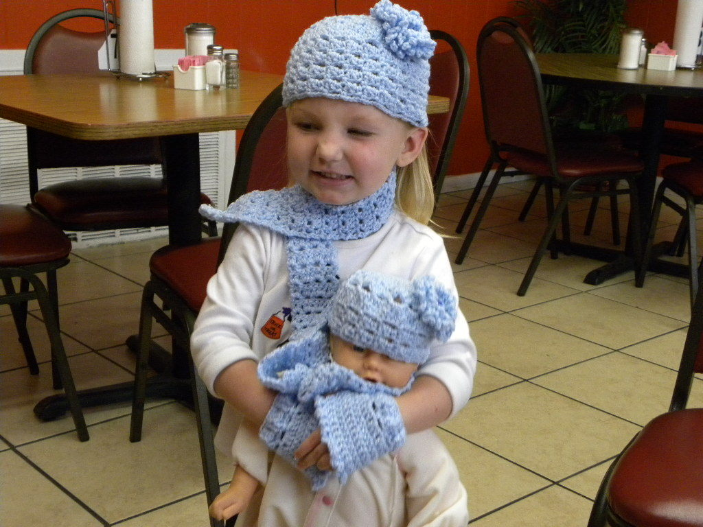 Primary image for crochet Dolly and Me matching cap sets