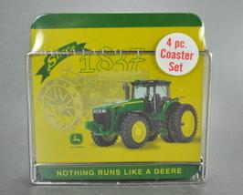 John Deere Tractor Coasters 4 Piece and Metal holder rack - $7.99