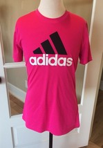 Adidas Top Hot Pink Girls 14 Large Fits Like 12 Short Sleeve Shirt Excellent - $10.39