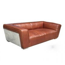 Awesome Artsome Columbia Brown Modern Large Leather/Metal Sides Sofa,91''w. - $2,965.05