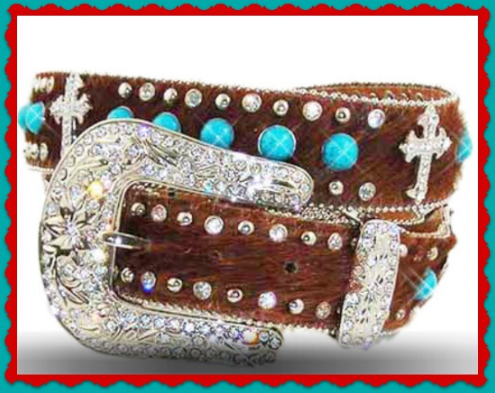 NEW Hair LEATHER Turquoise BROWN CROSS WESTERN COWBOY GIRL BUCKLE BELT XS S M L