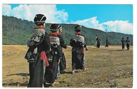 Laos Northern Yao Tribal Women in Traditional Dress 1971 Vintage Postcard Stamps - $4.99