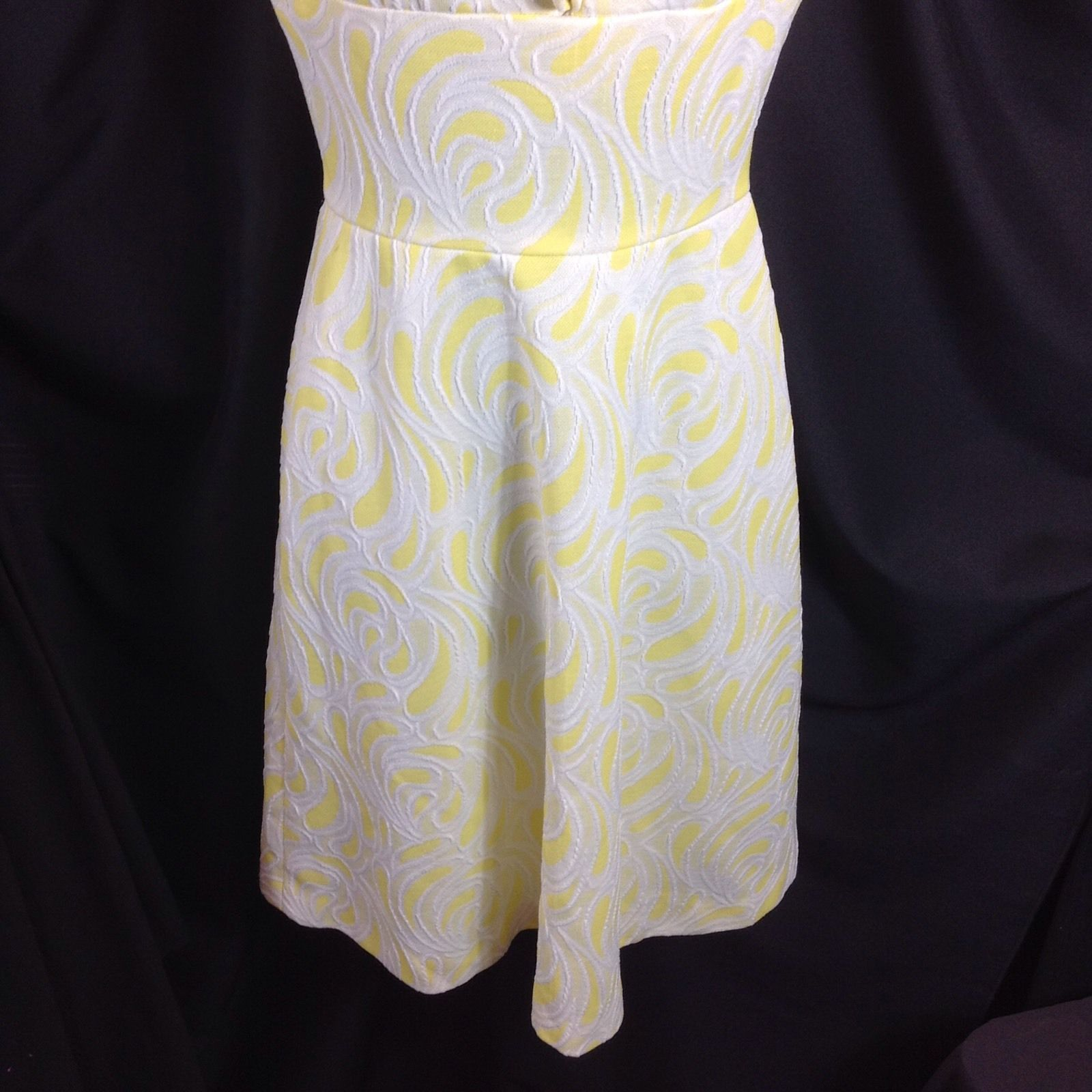 Vtg Yellow White Textured Polyester Dress Sleeveless Homesewn Small