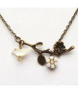 Antiqued Brass Branch Shell Bird Czech Glass Flower Necklace - $14.99