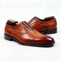 Handmade Men's Brown Leather Brogues Dress/Formal Oxford Shoes image 1