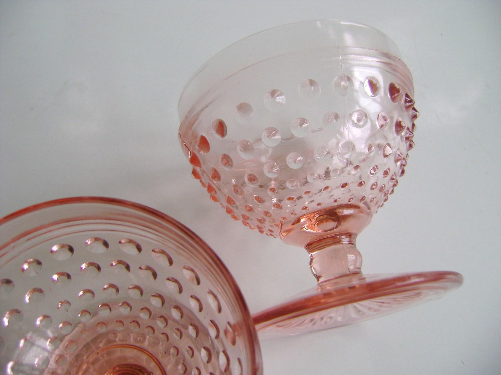Anchor Hocking Pink Hobnail Sherbet Glasses - $22.00