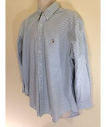 Mens RALPH LAUREN sz 17 1/2 32/33 Blue White Windowpane Check Oxford Dress Shirt - $24.70