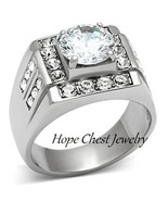 MEN'S STAINLESS STEEL 2.75 CT ROUND CT CUBIC ZIRCONIA WEDDING RING SIZE ... - $17.99