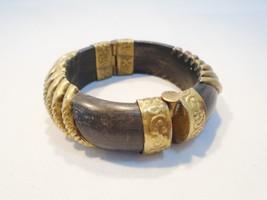 Vintage Black Horn Bangle Bracelet Pin Closure ... - $20.74