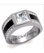 MEN'S STAINLESS STEEL BLACK EPOXY PRINCESS CUT CRYSTAL WEDDING RING SIZE... - $16.19