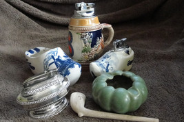 NICE VINTAGE LOT OF TABLE LIGHTERS, ASHTRAYS AND CLAY PIPE - $85.00