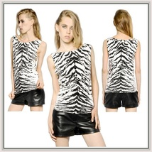 Sleeveless Summer Chiffon Snow Tiger Print Pullover Tank Tee Shirt Top