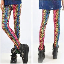 Women Sexy graffiti color printing stretch leggings Elastic Waist Party Travel M - $10.95
