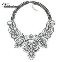 Luxury Color Crystal Bridal Collar Necklace S & Pendants Fashion Women R... - $378,25 MXN