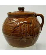 Vintage McCoy Pottery Bean Pot With One Handle And Lid Pea Pod And Leaf ... - $15.83