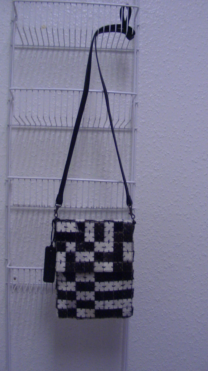 Handcrafted Small Art Mosaique Black White Cow Skin Cross Body Over Shoulder Bag