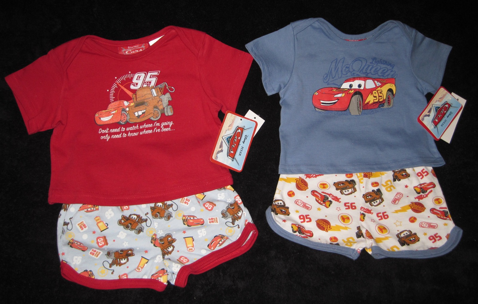 BOYS 6-9 MONTHS  Disney Pixar Cars Red & Lightning McQueen Blue TWO PLAYSETS