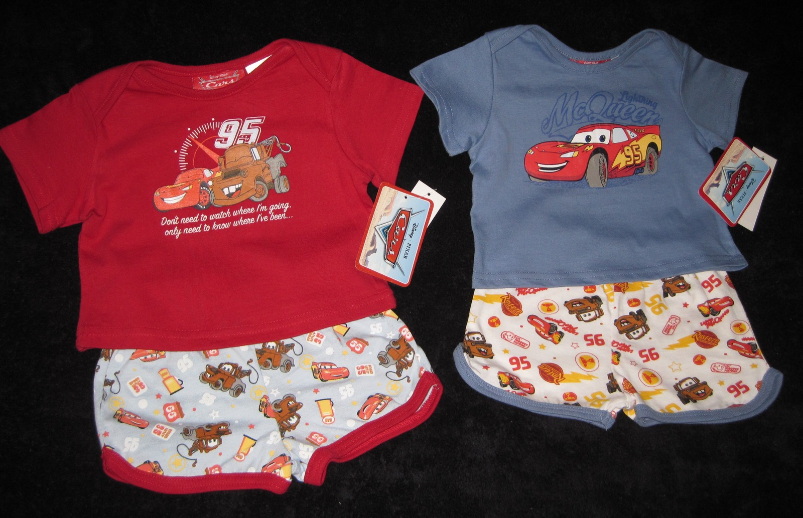 BOYS 3-6 MONTHS  Disney Pixar Cars Red & Lightning McQueen Blue TWO PLAYSETS