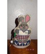 Golf Bunny Rabbit has Figurine Finished Cross Stitch Handmade - $26.30