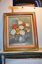 """Painting of Vase w/Colorful Flowers Signed """"Har... - $34.65"""
