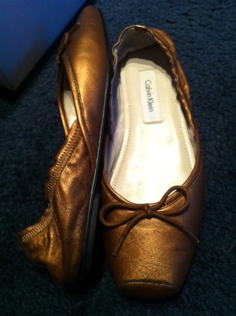 CALVIN KLEIN Sari Nappa leather bronze ballet style slip on flats SHOES 6.5 NEW!