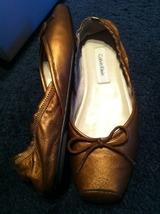 CALVIN KLEIN Sari Nappa leather bronze ballet style slip on flats SHOES 6.5 NEW! - $79.99