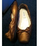 CALVIN KLEIN Sari Nappa leather bronze ballet style slip on flats SHOES ... - $79.99