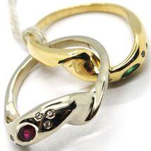18K YELLOW WHITE GOLD BAND DOUBLE RING, BRAIDED SNAKE, DIAMONDS, RUBY & EMERALD image 6
