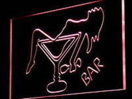 Neon LED light sign bar happy hour man cave    drunk lady in glass  - $32.99