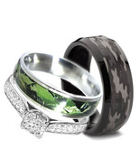His and Hers 3pc Stainless Steel Camo 925 STERLING SILVER Wedding Rings Set - $60.00