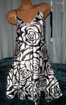 White Black Rose Outline Chemise Short Gown 1X Adjustable Straps - $12.50