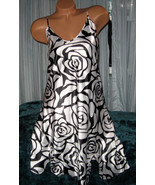 White Black Rose Outline Chemise Short Gown 1X Adjustable Straps - $12.50