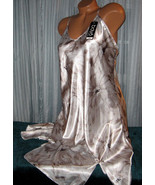 White Taupe Floral Chemise Short Gown 1X 2X Plu... - $12.50
