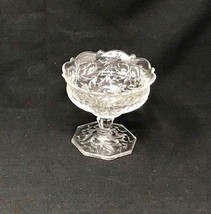 Early American Pattern Glass Candy Compote Scrolls Flowers EAPG US Scall... - $27.99