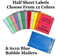 6x10 ( Blue ) Poly Bubble Mailers + Half Sheet Self Adhesive Shipping La... - $2.99+