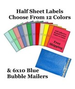 6x10 ( Blue ) Poly Bubble Mailers + Half Sheet Self Adhesive Shipping La... - $2.99+