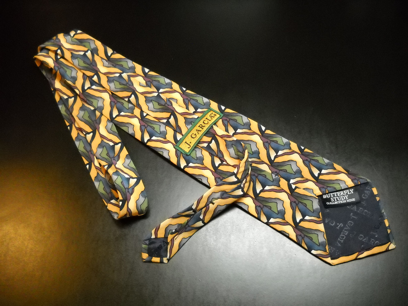J Garcia Neck Tie Collection 09 Butterfly Study Stonehenge Golds Yellows Blues
