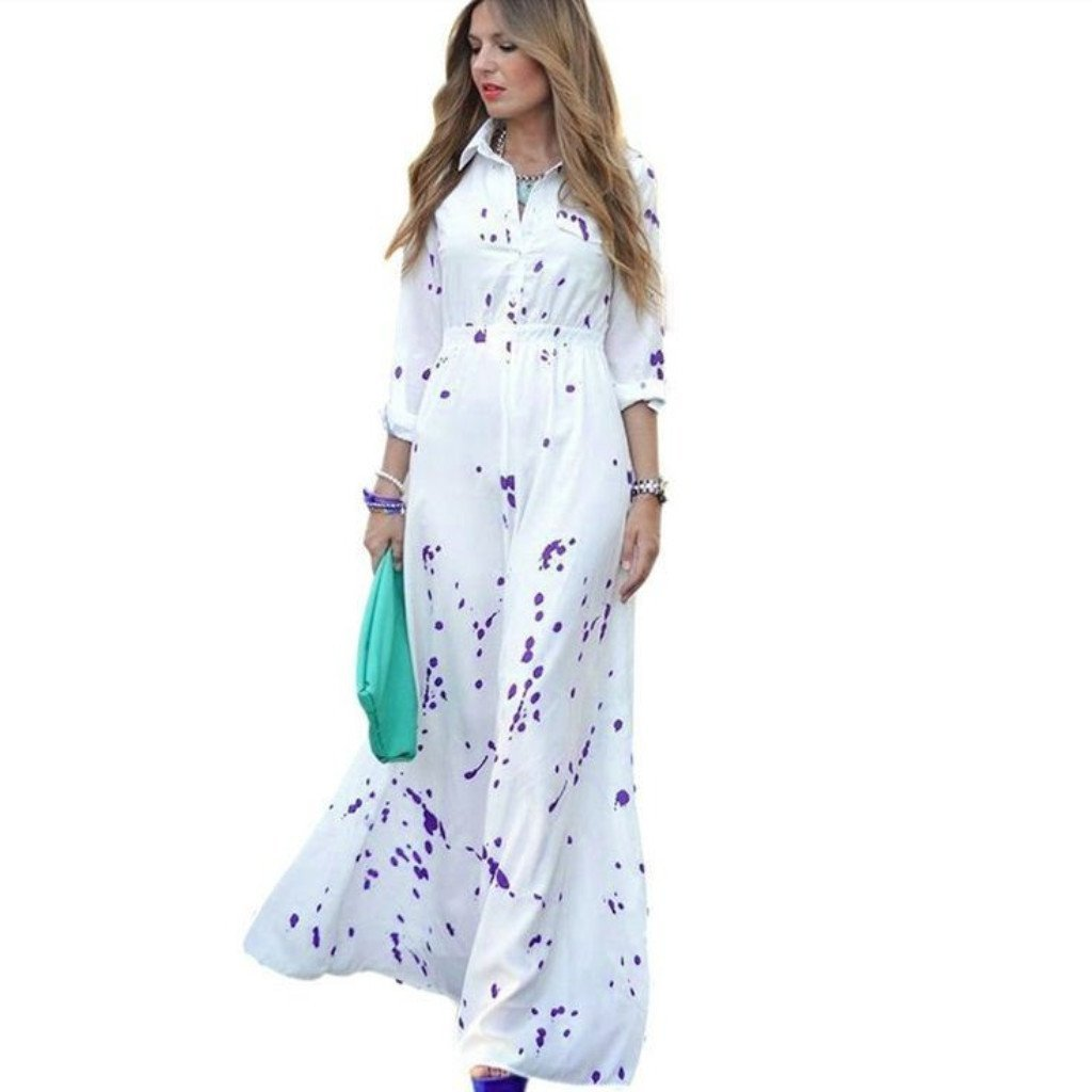 White Painted Chiffon Women Maxi Dress