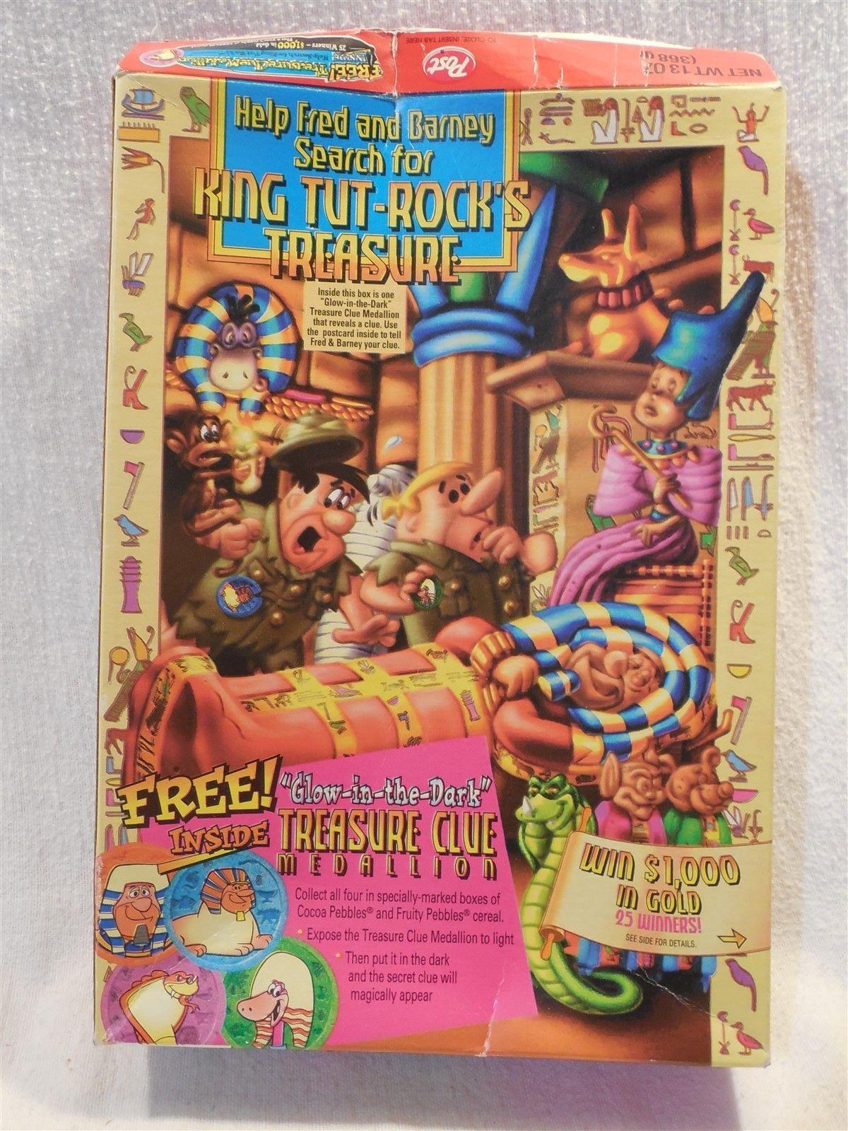 Flintstones 1996 Post Fruity Pebbles Cereal Box Treasure Clue Medallion Premium