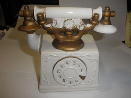 vintage porcelain  rotary telephone planter cream gold trim - ₨1,353.57 INR