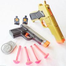 2x Toy Guns Military Detective Gold 9MM Pistol Cap Gun & Grey 9MM Dart G... - $15.76