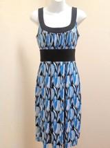 Donna Ricco 8 Dress Blue White Black Floral Geometric Empire Waist Sleev... - $24.48
